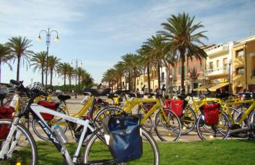 Bikes in the main square of Alghero