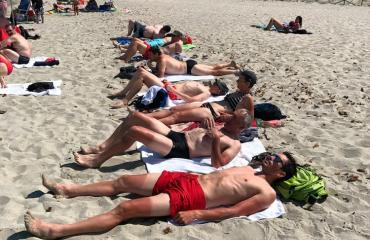 Sardinia Cycling Road Cyclist group  sunbathing