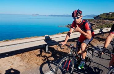 Cycling on road bikes in south coast of Sardinia