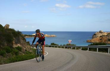 Road cyclijng Sardinia: view of the Costa Smeralda