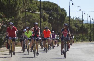Cycling tour Sardinia: entering the fishermen village of Marceddì